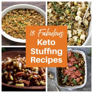 a collage of 4 keto stuffing recipes