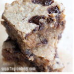 a stack of keto blondies