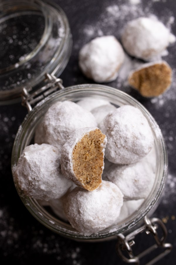 snowball cookies in a glass jar