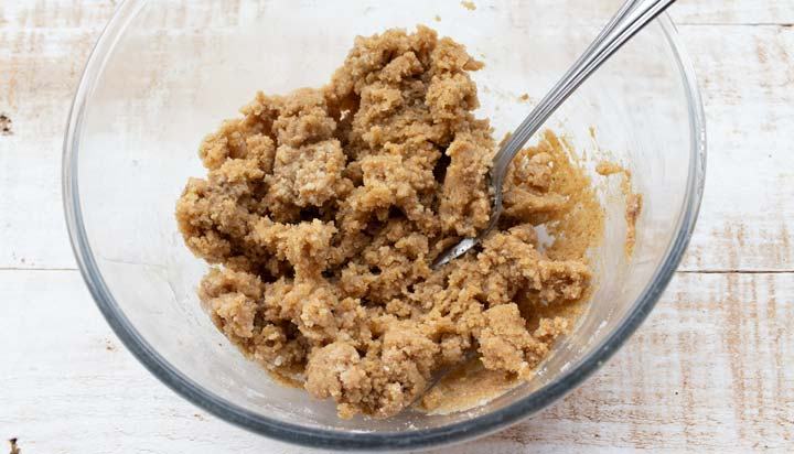cookie dough in a bowl with a fork