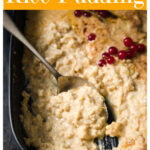 a casserole with cauliflower rice pudding and a spoon scooping out some of the pudding