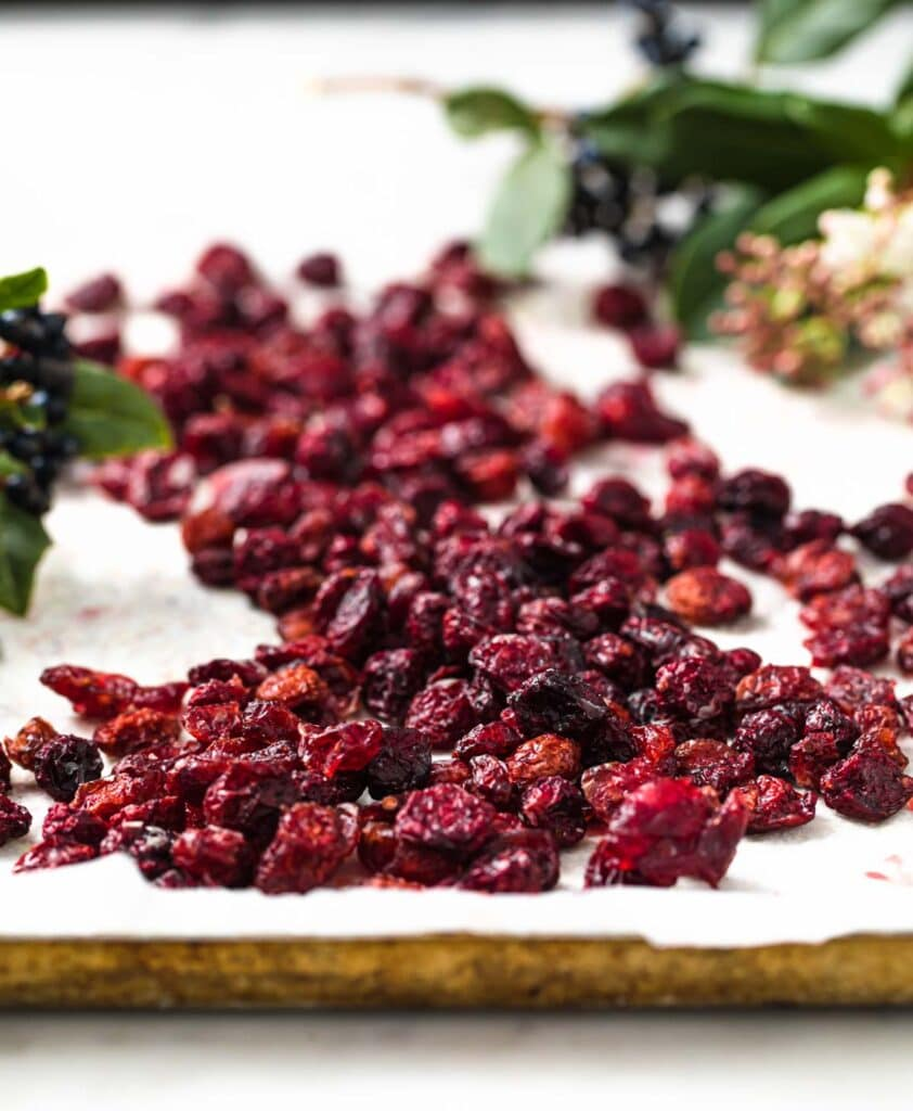 keto dried cranberries on a baking pan