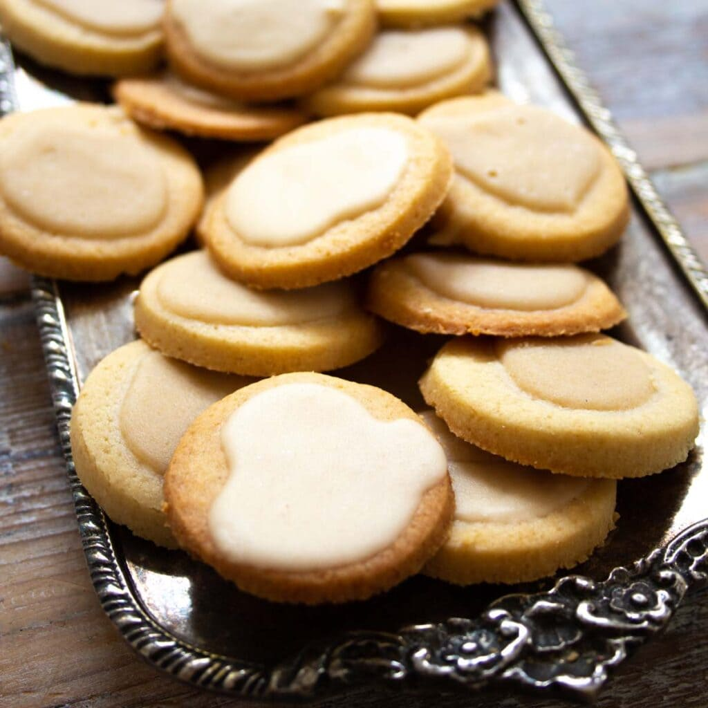 keto shortbread cookies on a tray