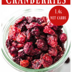 sugar free dried cranberries in a glass jar