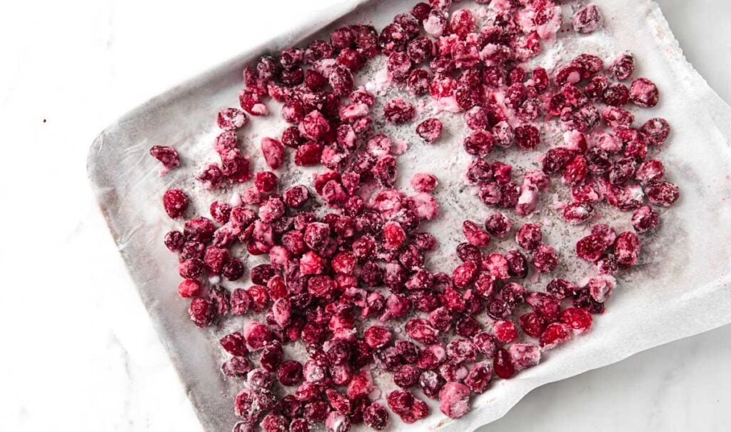 powdered sweetener coating cranberries