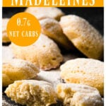 Madeleines on a table, one is broken in half