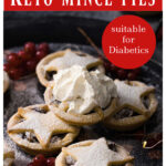 sugar free mince pies dusted with powdered sweetener and a dollop of cream