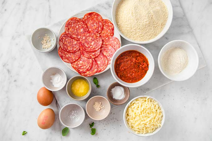 ingredients for almond flour pizza crust plus toppings