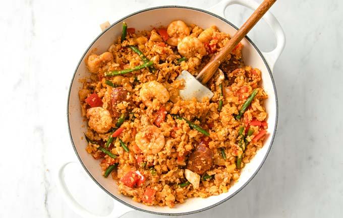 a saucepan with keto paella