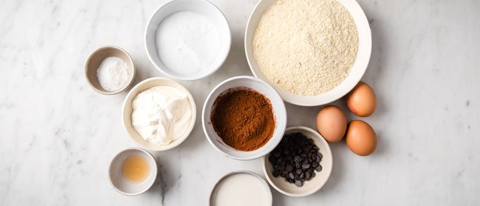 ingredients for this chocolate muffins measured into bowls