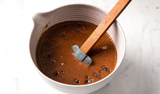 chocolate batter with chocolate chips in a bowl and a spatula