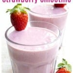 two glasses of strawberry smoothie