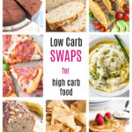nine images of low carb foods such as bread, cauliflower rice and pizza that are low carb swaps for high carb foods