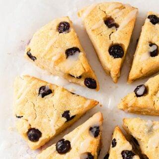 keto blueberry scones with lemon icing