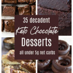 a collage of 4 keto chocolate desserts for Pinterest