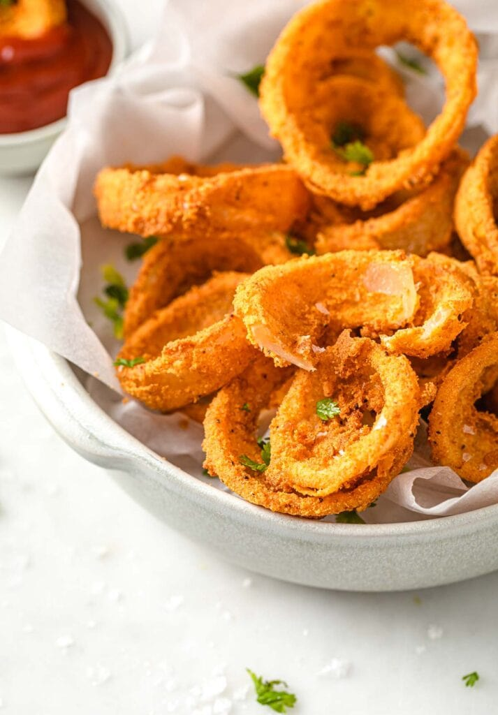 Onion rings in a bowl