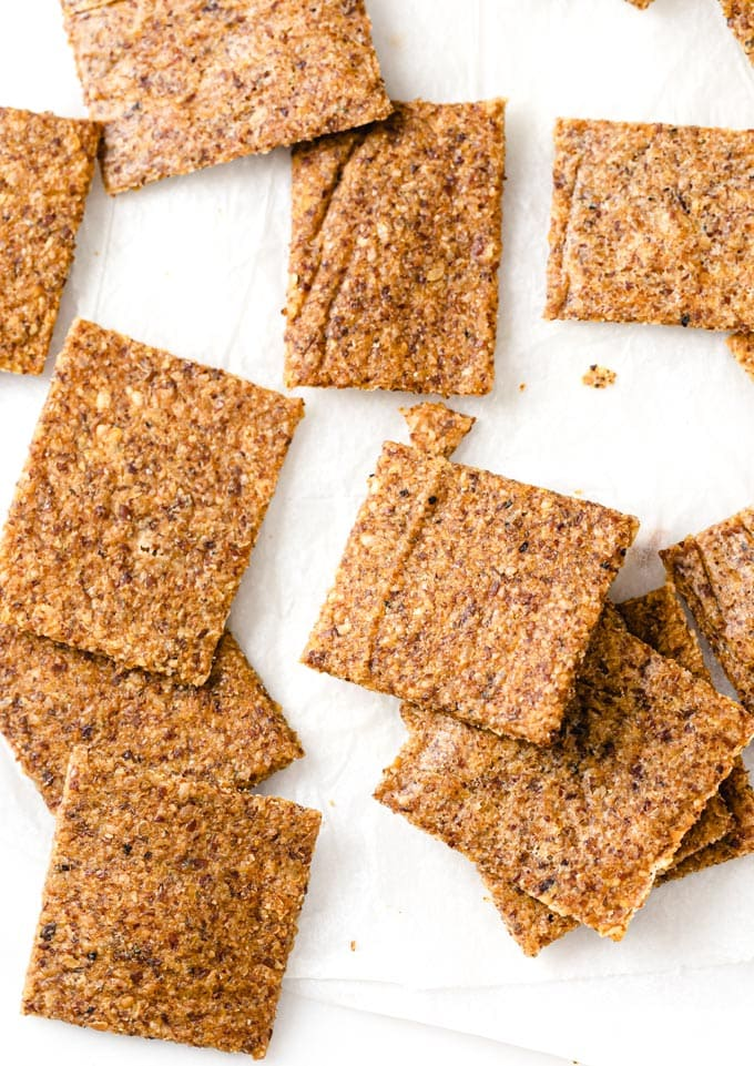 flax crackers on parchment paper