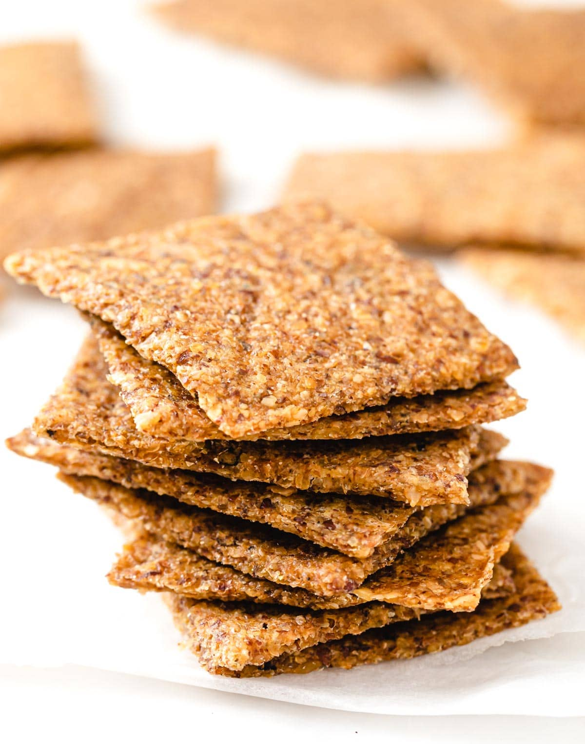 stack of flax crackers