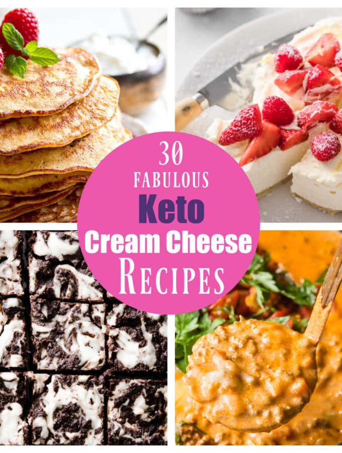 collage with 4 keto cream cheese recipes