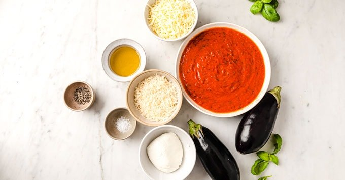 ingredients for eggplant parmesan measured out