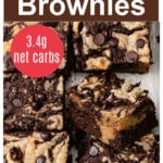 closeup of keto brownies with a peanut butter swirls and chocolate chips