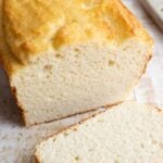 coconut flour bread loaf and a slice of bread