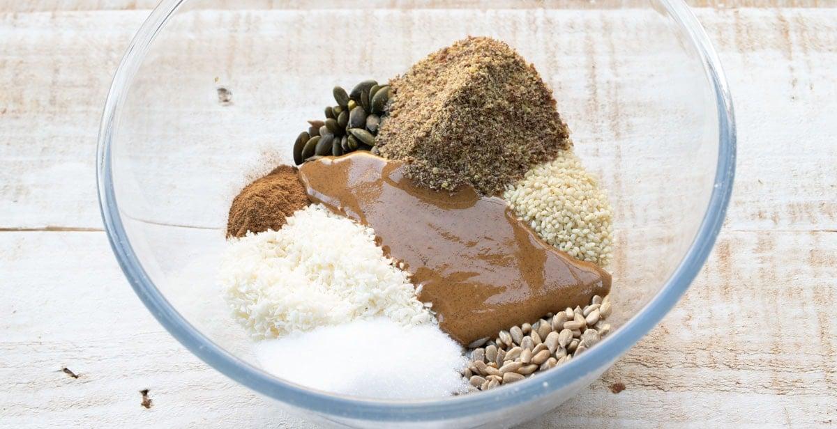 ingredients for keto breakfast cookies in a bowl