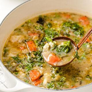 a ladle full of veggie soup
