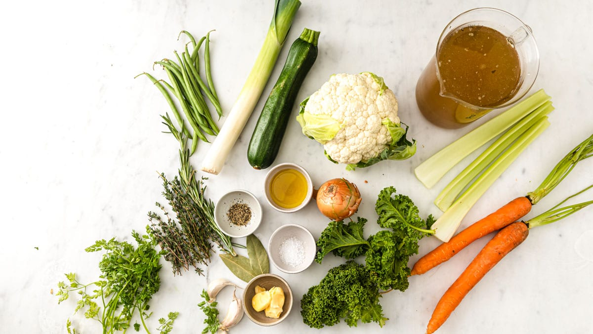 vegetables, stock and spices on a table
