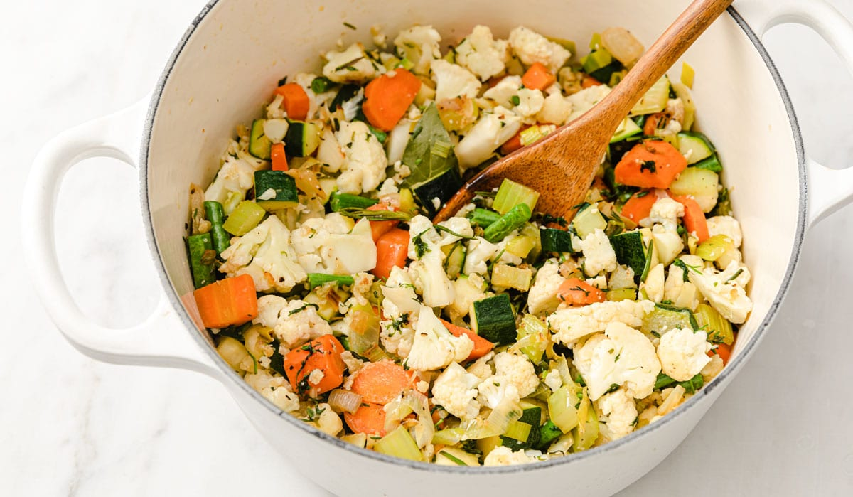 chopped vegetables in a pot
