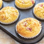 keto strawberry muffins in a muffin pan