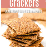 a stack of square flax crackers