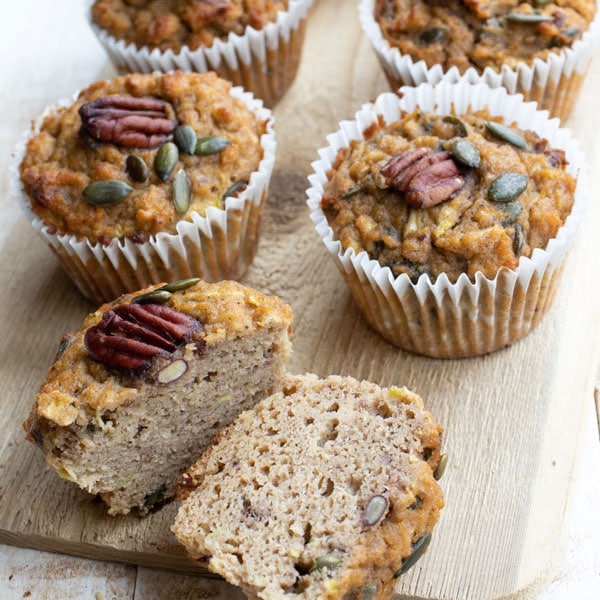 Morning glory muffins, the one in the front is sliced in half