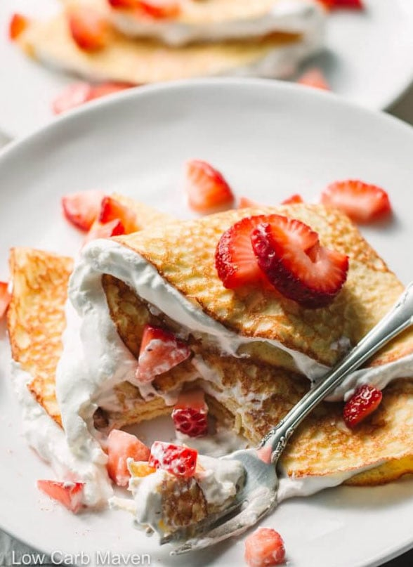 keto strawberry crepes by low carb maven