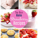 collage of keto strawberry desserts and drinks