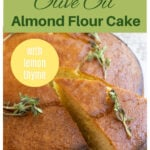 a slice of olive oil cake as a collage for pinterest
