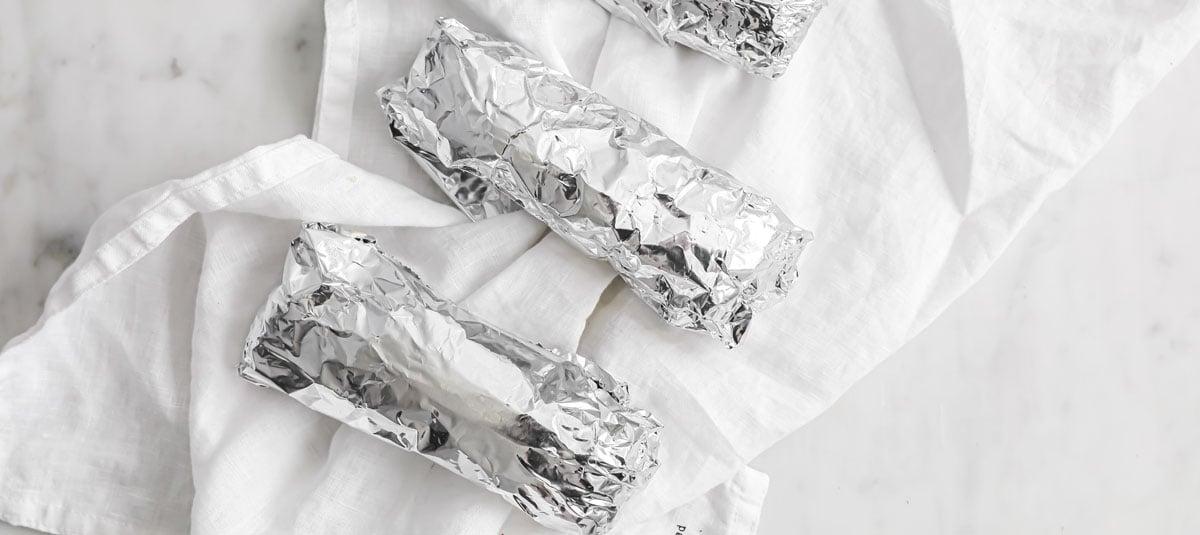 burritos rolled in aluminium foil