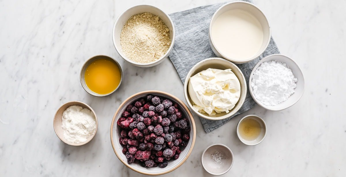 ingredients for this cake measured into bowls