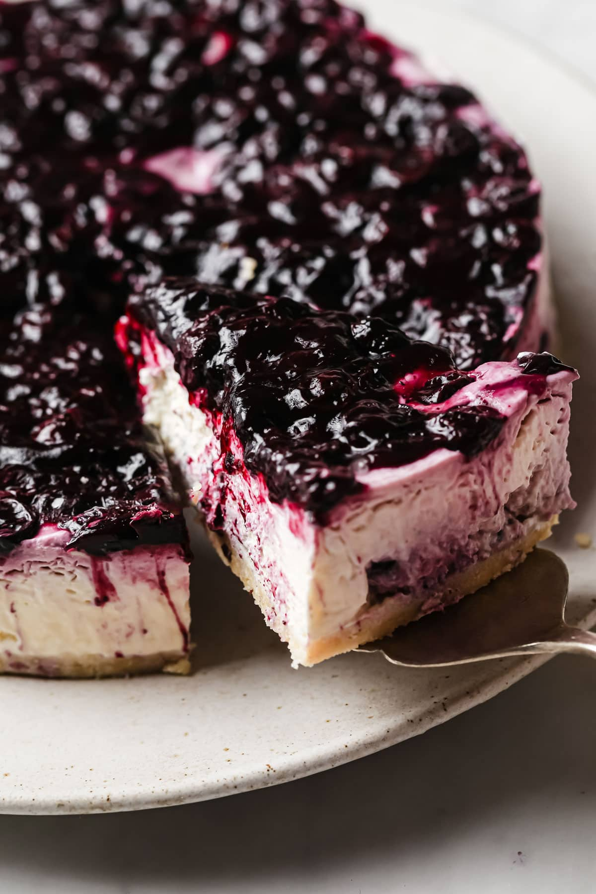 a keto blueberry cake on a platter