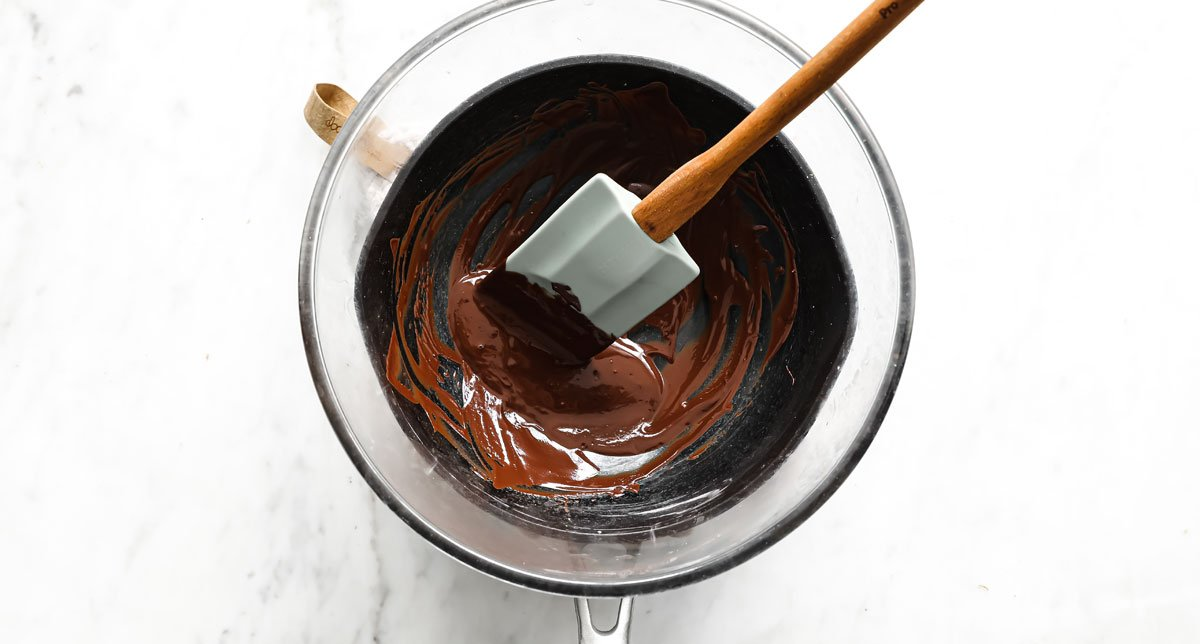 melted chocolate in a water bath