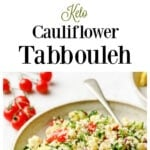 a bowl with tabbouleh and ingredients to make the recipe