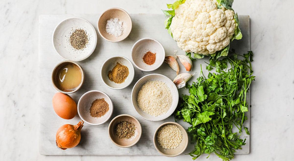 all ingredients for keto falafel measured into bowls