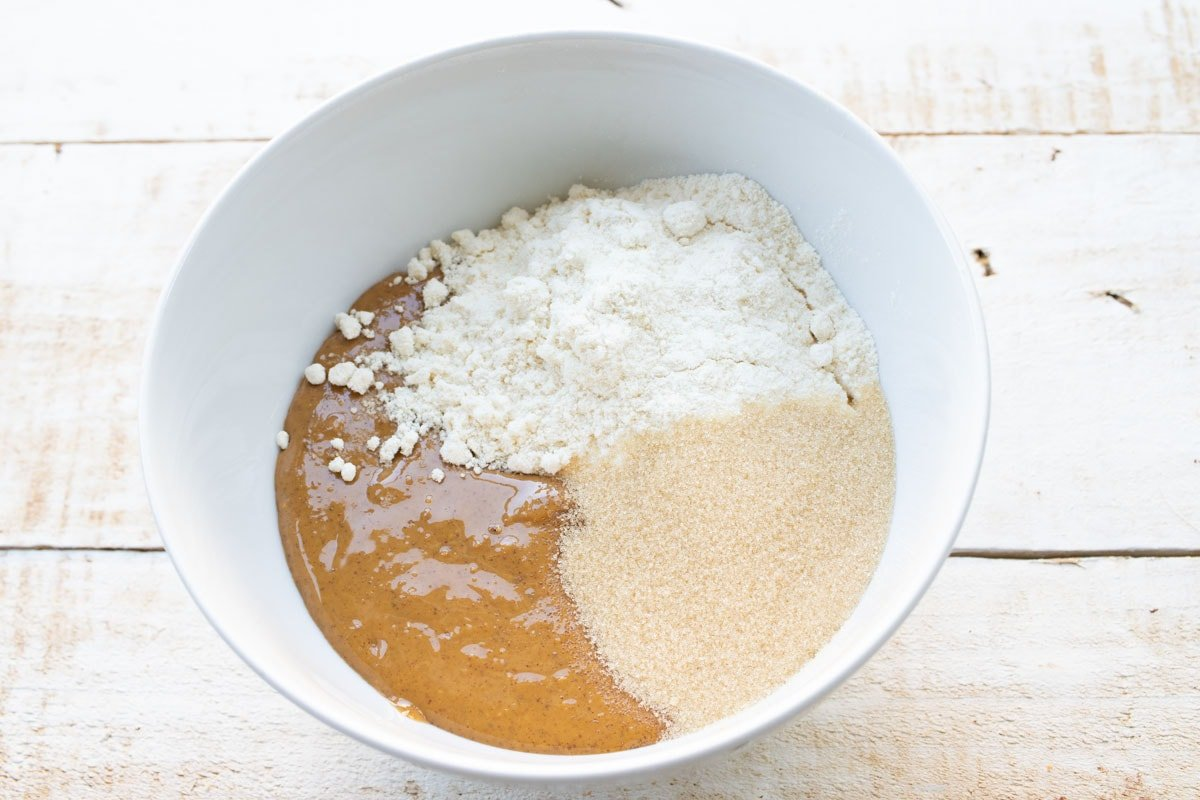peanut butter, coconut flour and sweetener in a bowl