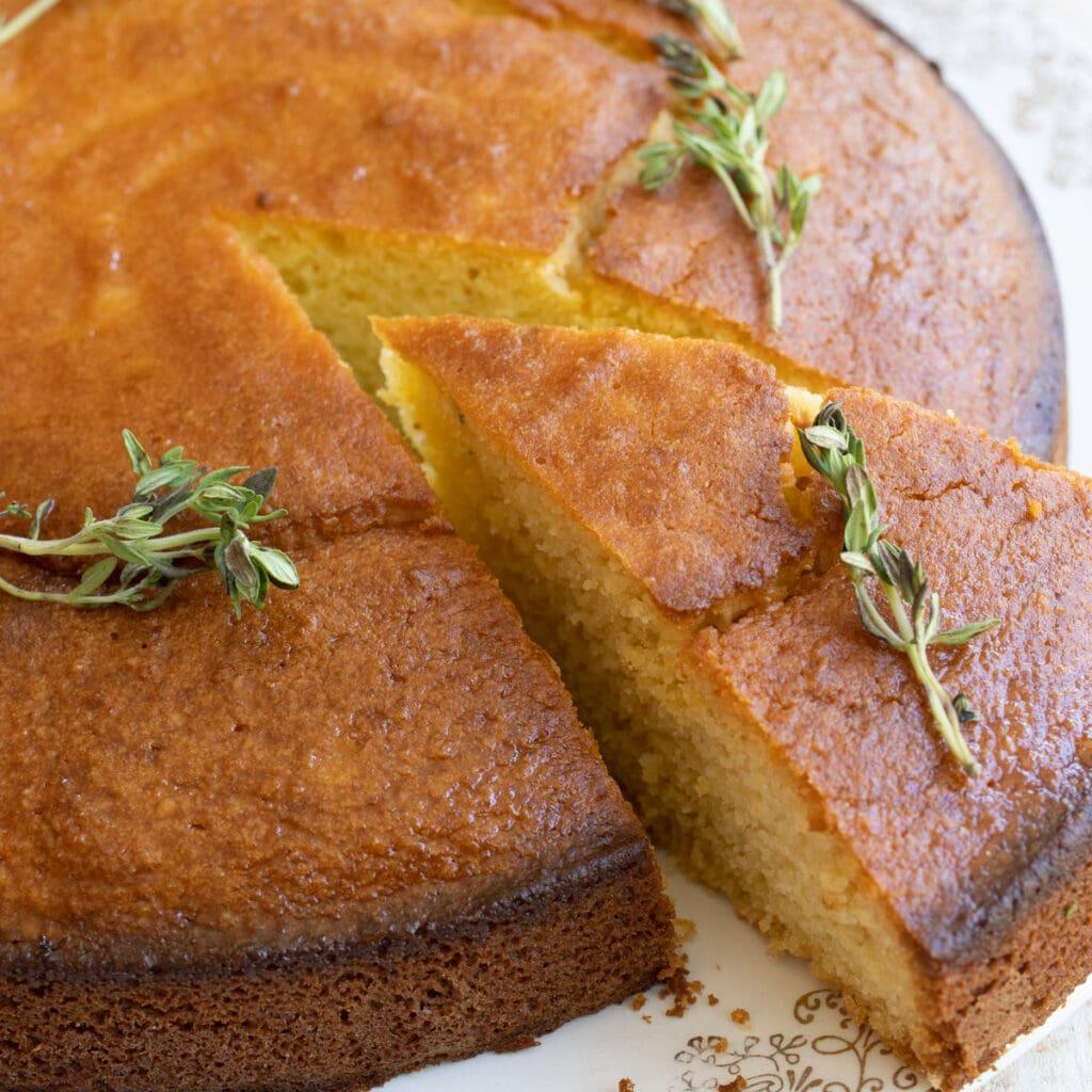 a slice of almond flour olive oil cake