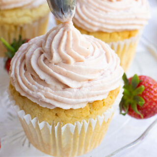 keto strawberry frosting on a cupcake