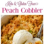 a collage of a peach cobbler casserole with a scoop of ice cream and the filling before baking