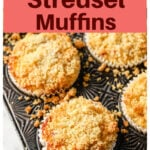 raspberry streusel muffins in a muffin pan
