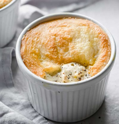 chicken pot pie with a pastry crust