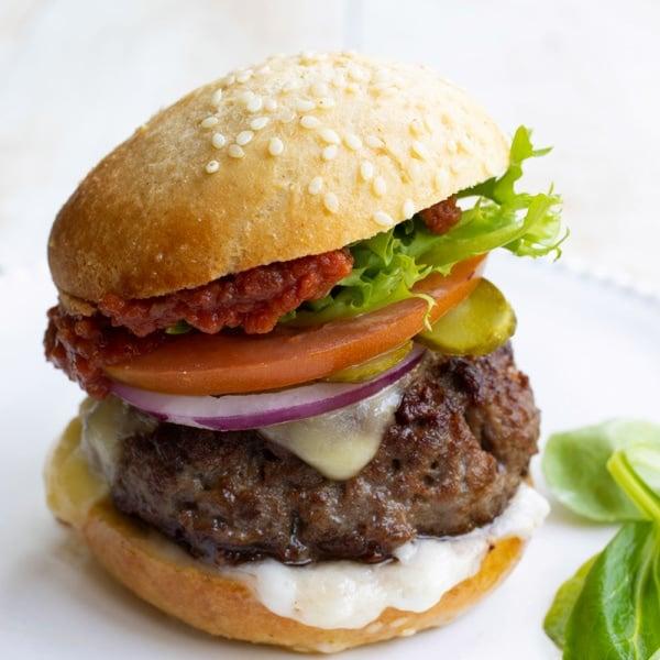 a hamburger with a low carb bun