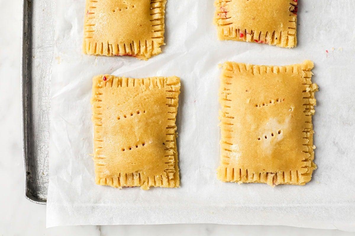 prepared pop tarts before baking